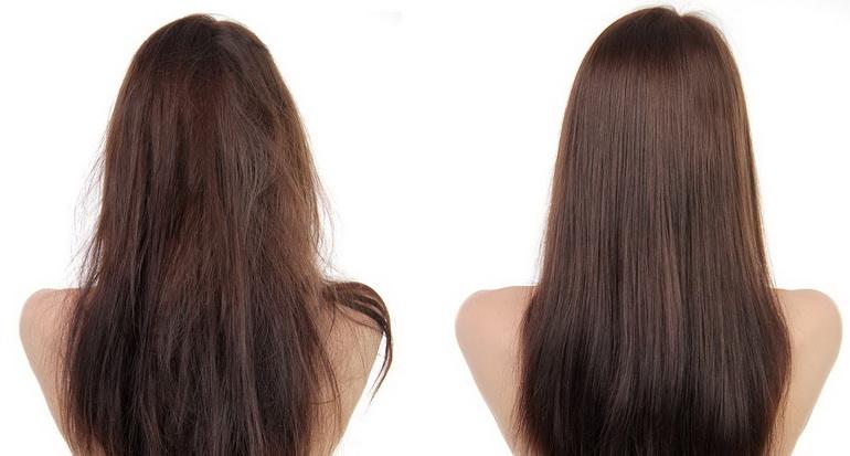 До и после восстановления волос
