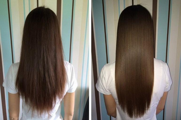 полировка волос: до и после