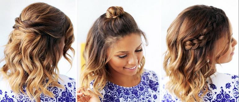 прическа на средние волосы у девушки
