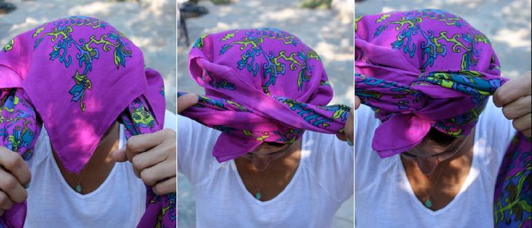 девушка красиво завязала платок на голове
