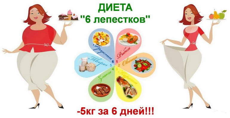 6 лепестков диета меню на каждый день